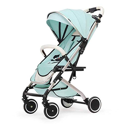 MXYBD Baby Cart 2 in 1 Pram with Car Seat High Landscape for Newborns Travel System Foldable Baby Carriage Trolley Walk (Color : Green)