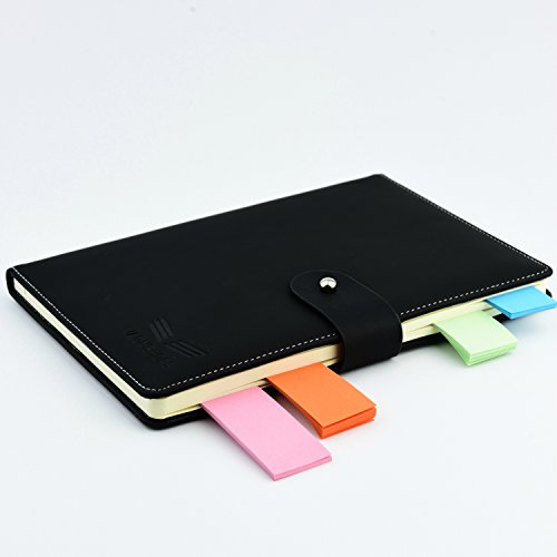 Agenda Notebook Undated Daily Planner black journal organizer with Sticky Notes, by Vaonshops