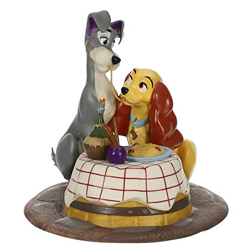 Hallmark Keepsake Christmas Ornament 2019 Year Dated Disney Lady and The Tramp A Beautiful Night, Porcelain,