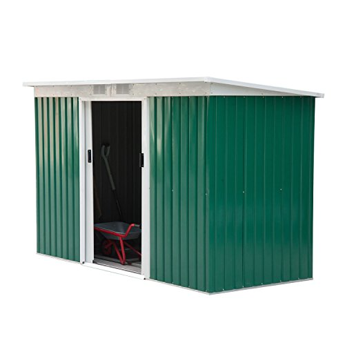 Outdoor Wood Storage Building (Outsunny 9' x 4' Outdoor Metal Garden Storage Shed - Green/White)