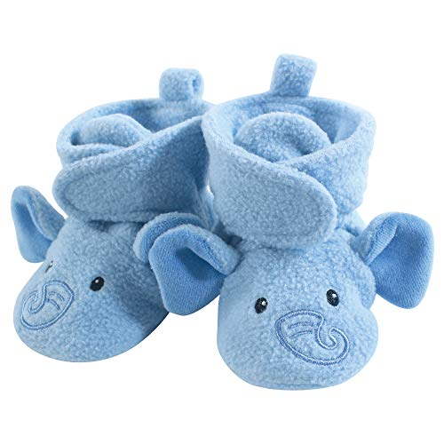 Hudson Baby Baby Cozy Fleece Booties with Non Skid Bottom, Blue Elephant, 0-6 Months