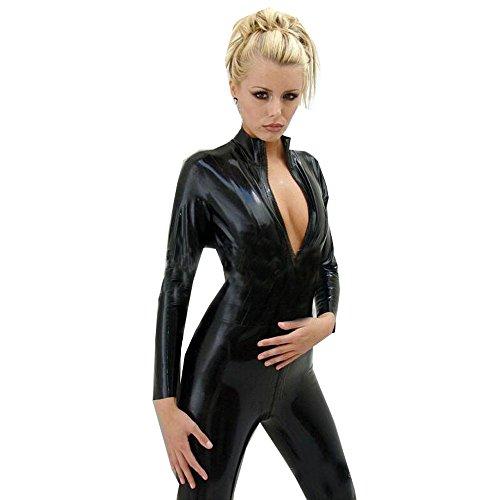 (FASHION QUEEN Women's Wetllook Shinny Bodysuit Zip to Crotch Mock Neck Catsuit S-5XL (5XL, Black))