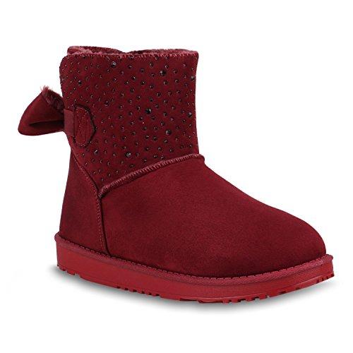 Stiefelparadies Damen Schuhe Stiefeletten Schlupfstiefel Warm Gefütterte Stiefel Strass Flandell Dunkelrot