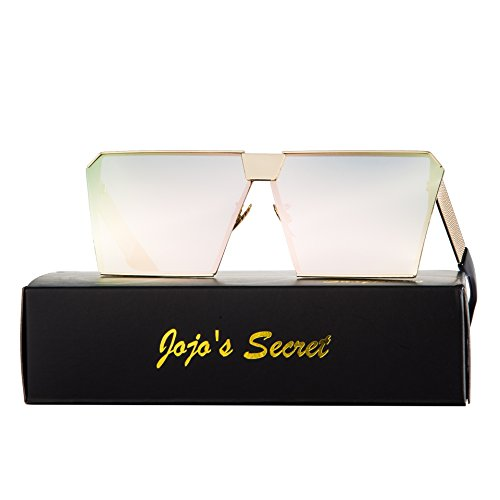 JOJO'S SECRET Oversized Square Sunglasses Metal Frame Flat Top Sunglasses JS009 (Gold/Cherry powder, - Secret Service Sunglasses