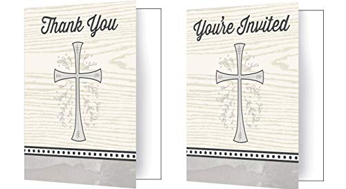 16Ct Divinity Silver Invite & Thank You Notes - 8 Cards Each | Ideal for for Holy Communion, First Confession, Confirmation, Baptism Celebration, Religious Themed Event