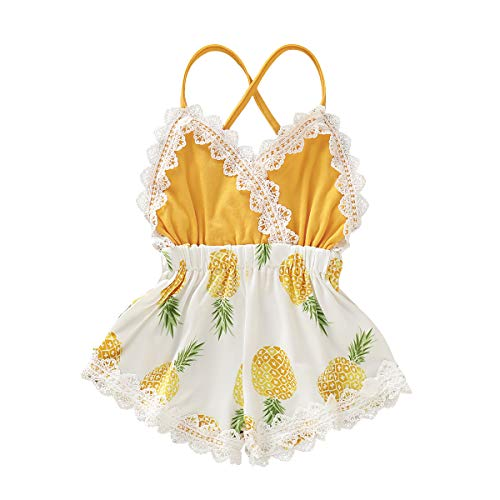 Summer Toddler Baby Girl Clothes Cute Watermelon Print Lace Trim Backless Romper Shorts Jumpsuit (12-18 Months, Pineapple)