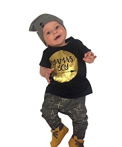 Summer Baby Boy Cotton Letters Printed T-shirt+pants