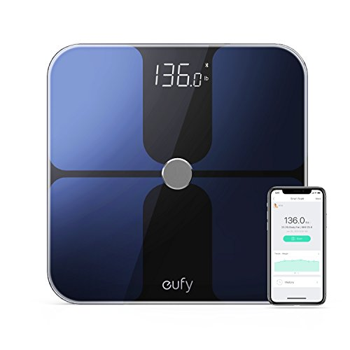eufy BodySense Smart Scale with Bluetooth 4.0, Large LED Display, Weight/Body Fat/BMI/Fitness Body Composition Analysis, Auto On/Off, Auto Zeroing, Tempered Glass Surface, Black/White, lbs/kg/st Units