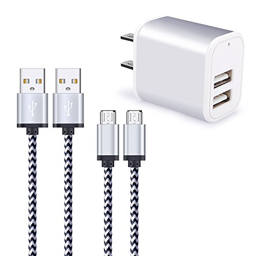 Charging Block, Hootek 2.1A Dual Port Phone Charger Box USB Wall Charger Cube Brick Plug With 2-Pack 6ft Micro USB Cable Android Charger Cord For Samsung Galaxy S6/S7 Edge J3 J7, LG Stylo 3 Plus, HTC
