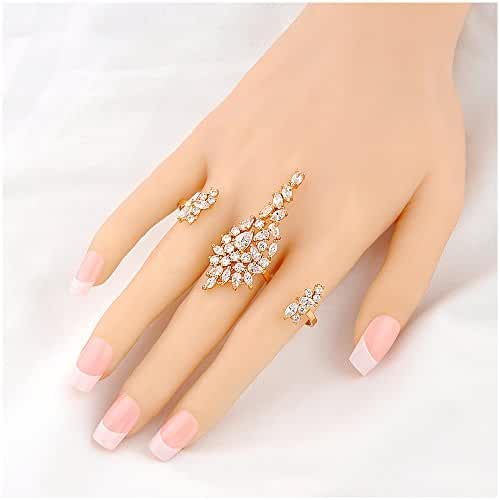 Mytys Rose Gold Copper Alloy with Cubic Zirconia 2 Finger Rings Yellow Gold