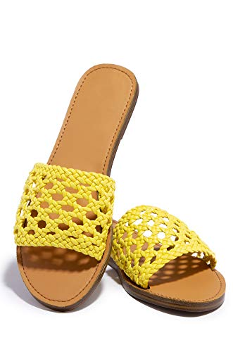 Michelle Parker Shoe Republic Reims Yellow Crochet Woven Vegan Leather Open Toe Flat Sandals (10) ()