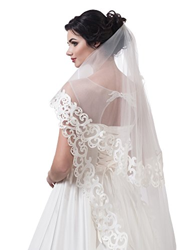 "Bridal Veil Lauren from NYC Bride collection (short 30"", ivory) by NYC Bride"