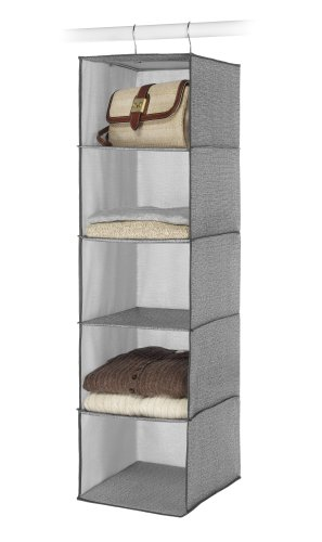 Whitmor Hanging Accessory Shelves 5 Open Sweater Shelves Crosshatch Gray