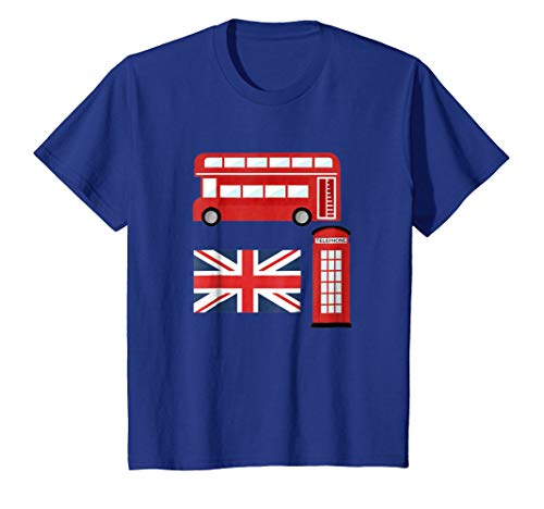 (Kids Vintage London Tshirt I Love Travel Wanderlust Union Jack 8 Royal Blue)