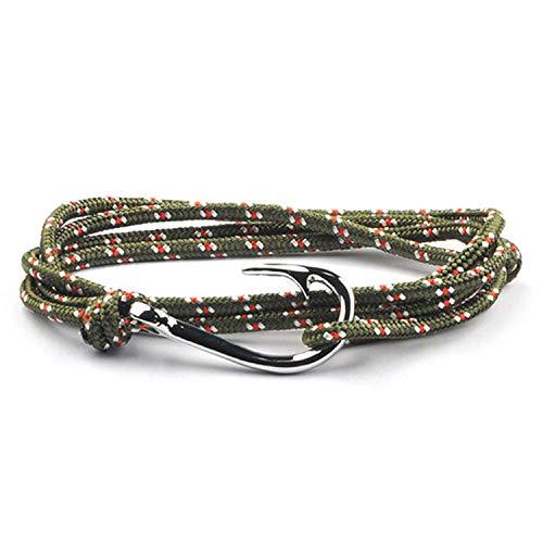 (Tea language Hand Braided Bracelet Silver/Gold Fish Hook Men Charm Survival Paracord Male Wrap Sport)