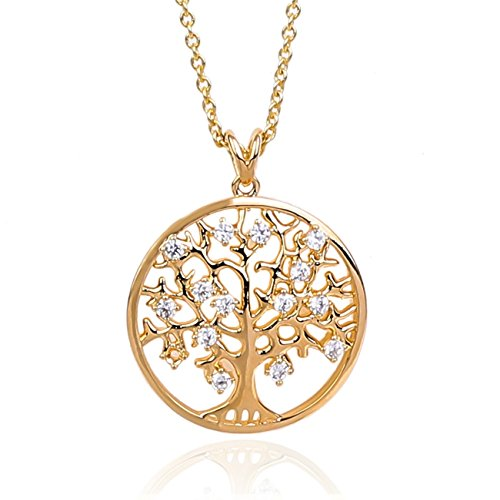 Nick Angelo's Tree of Life Necklace for Women Cubic Zirconia Crystal Stones 18K Gold Plated Jewelry 08 Aurora Borealis Crystal