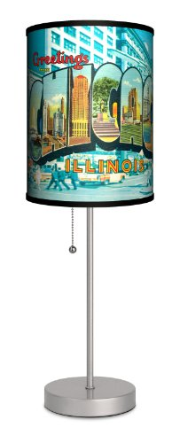 Travel - Chicago Postcard Sport Silver Lamp