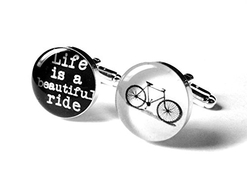Life is a Beautiful Ride Handmade Resin Wedding Cufflinks