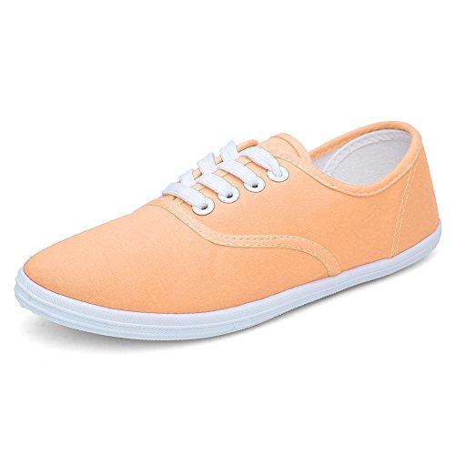 Cior Femmes Lace Up Toile Chaussures Casual Fourre-tout Classique Sneakers Original Léger Soft F.light Orange