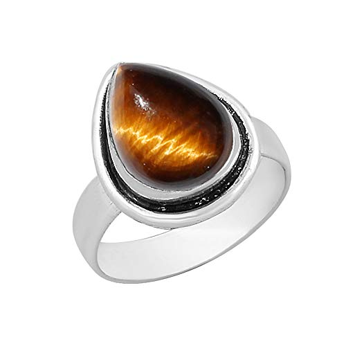 Genuine Pear Shape Tiger Eye Solitaire Ring Silver Plated Vintage Style Handmade for Women Girls - Eye Silver Tigers Finish