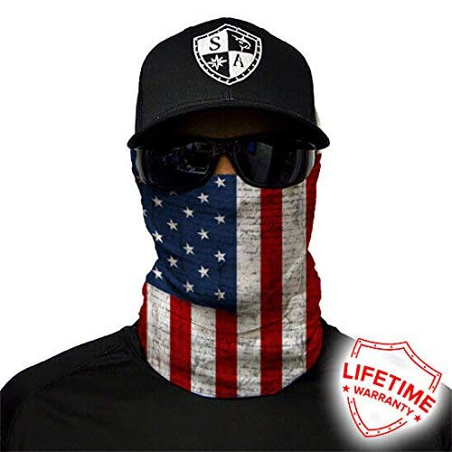 Salt Armour Face Mask Shield Protective Balaclava Bandana MicroFiber Tube Neck Warmer (American Flag) ()
