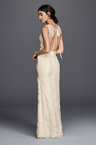 David's Bridal Sample: As-Is Floral Lace V-Neck Wedding Dress Style AI16010100, Ivory, 14