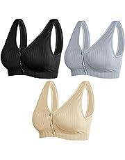 3 Pack Women's Maternity Nursing Bras Front Button Closure Bralette for Breastfeeding Sleeping Wireless Cotton Bra