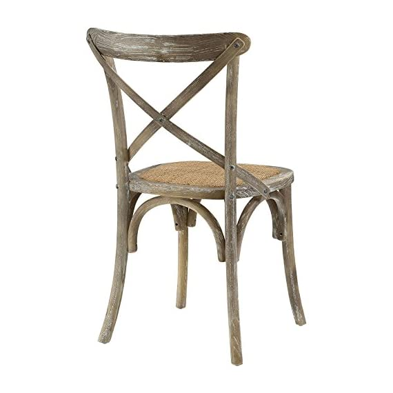 Modway Gear Rustic Modern Farmhouse Elm Wood Rattan Dining Chair in Gray - FARMHOUSE STYLE - Transporting you to a cafe on the bustling streets of Vienna, Gear effortlessly blends farmhouse and modern styles, bringing intriguing rustic charm to your dining area. SUPPORTIVE COMFORT - A preferred choice for the dining room, Gear boasts a natural rattan seat that offers a supportive, comfortable place to rest on while eating, chatting, working or reading a book. SUPERIOR CONSTRUCTION - Crafted with solid elm wood, Gear adds charm and nostalgia to the dining room. Sitting atop bowed legs, the open cross back frame is complemented by the curved apron detail. - kitchen-dining-room-furniture, kitchen-dining-room, kitchen-dining-room-chairs - 41xCSMU8xQL. SS570  -