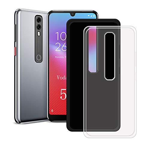 YZKJ 2 Pack Case for Vodafone Smart V10,Shock-Absorption Light but Durable Flexible Soft Gel Crystal Transparent + Black TPU Silicone Protection Case Cover for Vodafone Smart V10 (5.9