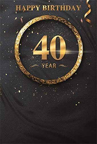 CSFOTO 7x10ft Background Gold Frame 40th Birthday Party Decor Photography Backdrop Happy Birthday Bash Confetti Ribbon Black 40 Anniversary Celebration Adult Photo Studio Props Vinyl Wallpaper