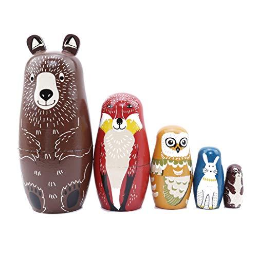 (VWH 5 Pieces Cartoon Brown Bear Fox Owl Rabbit Raccoon Nesting Doll Wooden Matryoshka Russian Doll Handmade Stacking Toy Set )
