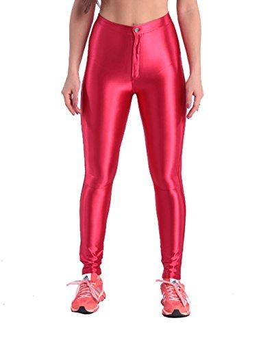 Yomsong Women's High Waist Shiny Satin Disco Pants (X-Large, - Shinny Red