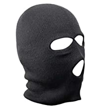 TRIXES Black Balaclava SAS Style 3 Hole Mask Neck Warmer Paintball Fishing