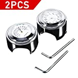 Motorcycle Handlebar Dial Clock + Thermometor Waterproof Glossy Aluminium Alloy (Pack Of 2)