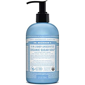 Dr. Bronner's Organic Baby Unscented Sugar Soap. 4-in-1 Organic Pump Soap for Home and Body (12 oz)