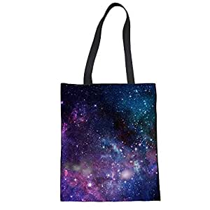 YORXINGY Galaxy Canvas Tote Bag for Women Kids Big Book Travel Handbag Shoulder Shopping Bags with Handles Reusable Foldable Blue Purple
