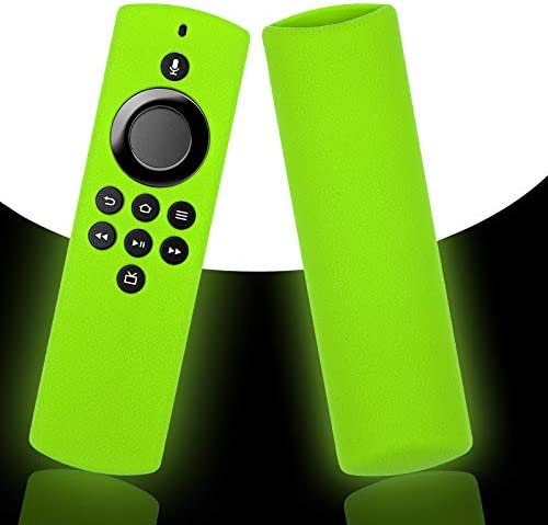 Glow Alexa Voice Remote Cover for TV Stick Lite Control 2020, Silicone Protector Case with Lanyard Green