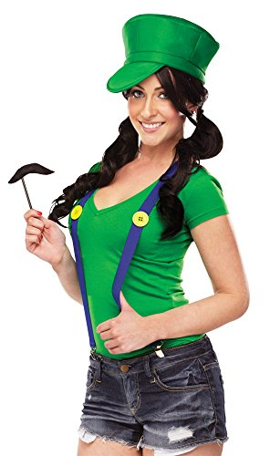 Mario Luigi Wario Waluigi Costumes (Video Game Gal Instant Costume Kit - Green)