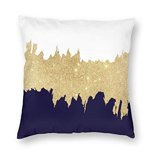 Emliyma Modern Navy Blue White Faux Gold Brushstrokes Throw Pillow Covers Decorative Cotton Cushion Cover Outdoor Sofa…