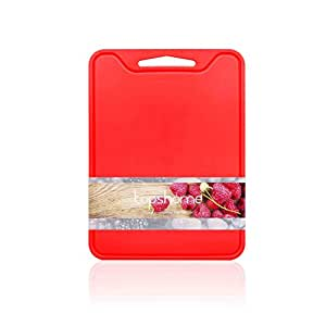 Cutting board with food grade silicone also for chopping Non-slip Soft Chopping Mat, heat holder, Antibacterial and Thicken Mat with, by Topshome (Red)