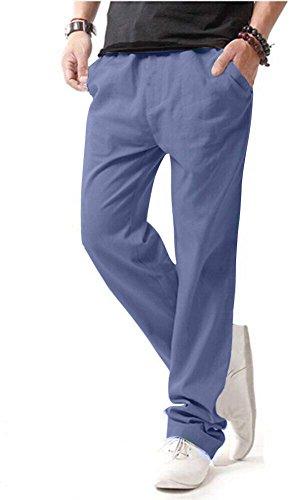Hoerev Men Casual Beach Trousers Linen Jean Jacket Summer Pants,LightBlue,S