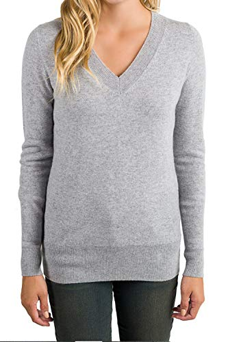 ALBIZIA Women's V-Neck Cashmere Wool Ribbed Knited Pullover Sweaters M Grey - Grey Cashmere Wool Ribbed