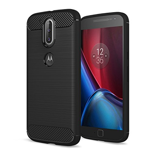 Moto G4 Case, Moto G (4th Generation) Case, Moto G4 Plus Case,[Not fit G4 Play],AnoKe Slim Carbon Fiber Shock Absorption Soft TPU Drawing Grip Phone Cases for Motorola Moto G Plus(2016) HWLS Black