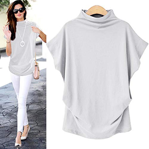 COOKI Women Shirts Turtleneck Short Sleeve Cotton Blouse T Shirt Casual Loose Tunic Tops White
