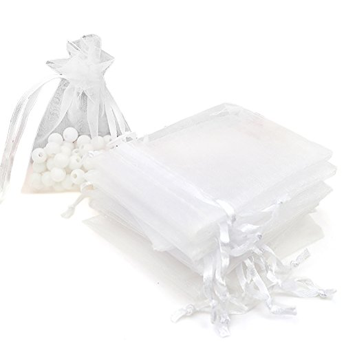 10 Sheer Organza Drawstring Pouches (Aspire 200 Pieces Organza Drawstring Pouch Bags, 4 x 5 Inch Gift Bag / Party Favor Bag-White)