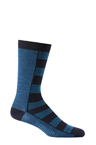 Icebreaker Men's Lifestyle Ultra Light Cushion Crew Socks, Admiral/Equinox Heather/Force, Large