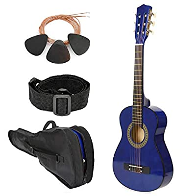 "NEW! 38"" Left Handed Blue Wood Guitar With Case and Accessories for Kids/Boys / Teens/Beginners"