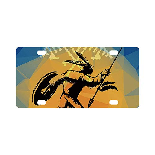 C COABALLA Native American Simple Classic License Plate,War Dance Ritual Against Ancient Totem Poly Effect Triangles Abstract for Car,12