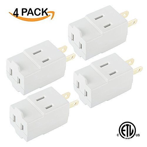 Oviitech Single Receptacle to 3 Outlet Cube Wall Tap,Plug-In Triple outlet polarized adapter,White(4 - Polarized Outlets