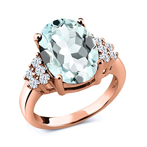 Gem Stone King 6.00 Ct Oval Sky Blue Simulated Aquamarine 18K Rose Gold Plated Silver Ring (Size 9) (Aquamarine 18k Rose)